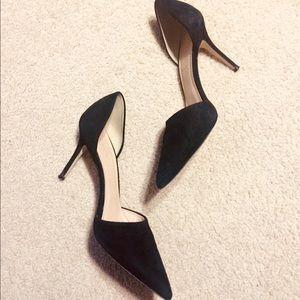 J. Crew black Elsie d'orsay suede heels